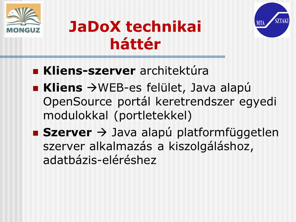 JaDoX technikai háttér