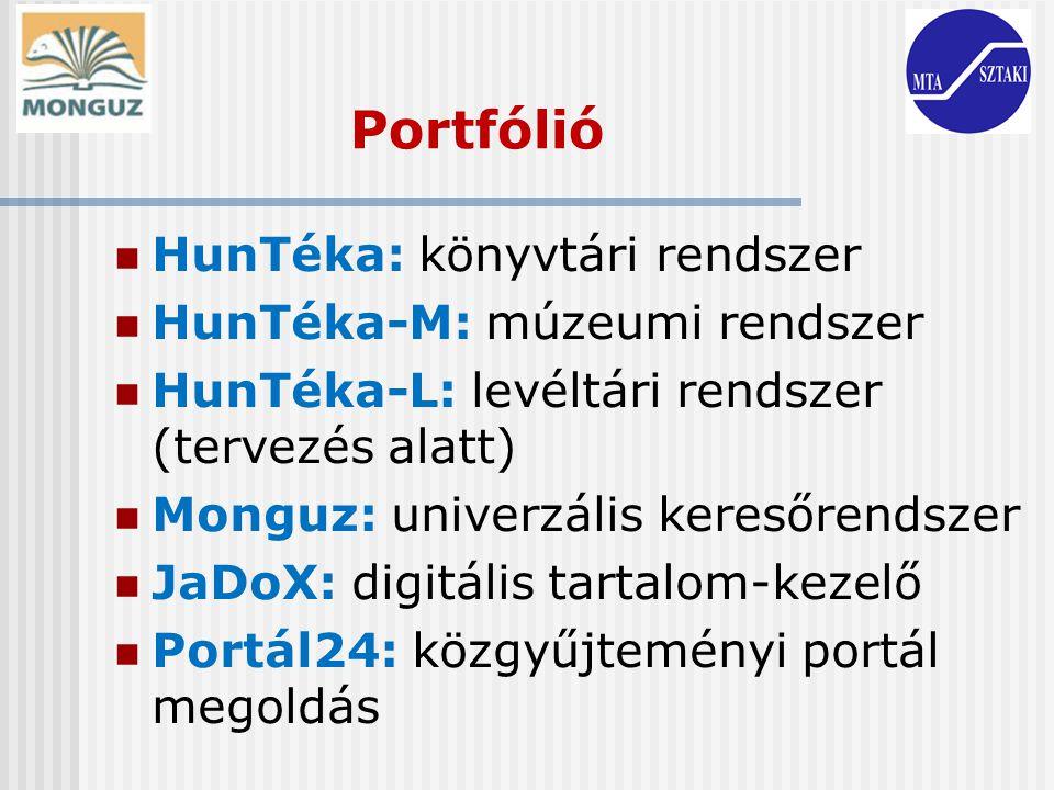 Portfólió HunTéka: könyvtári rendszer HunTéka-M: múzeumi rendszer