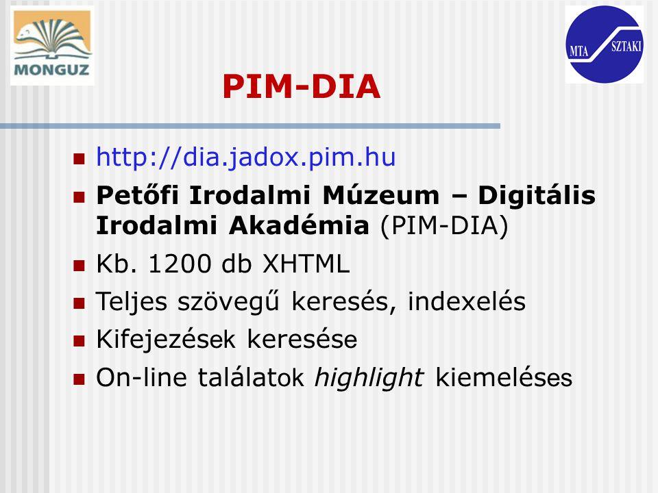PIM-DIA http://dia.jadox.pim.hu