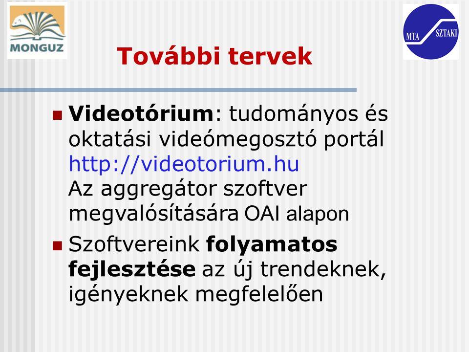 További tervek Videotórium: tudományos és oktatási videómegosztó portál http://videotorium.hu Az aggregátor szoftver megvalósítására OAI alapon.