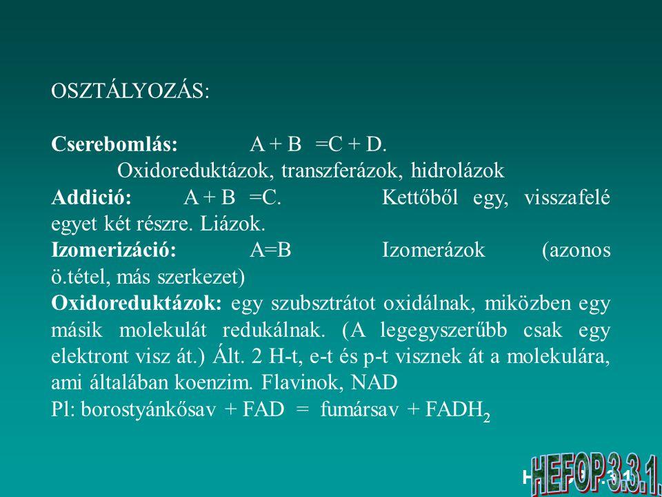 Cserebomlás: A + B =C + D. Oxidoreduktázok, transzferázok, hidrolázok