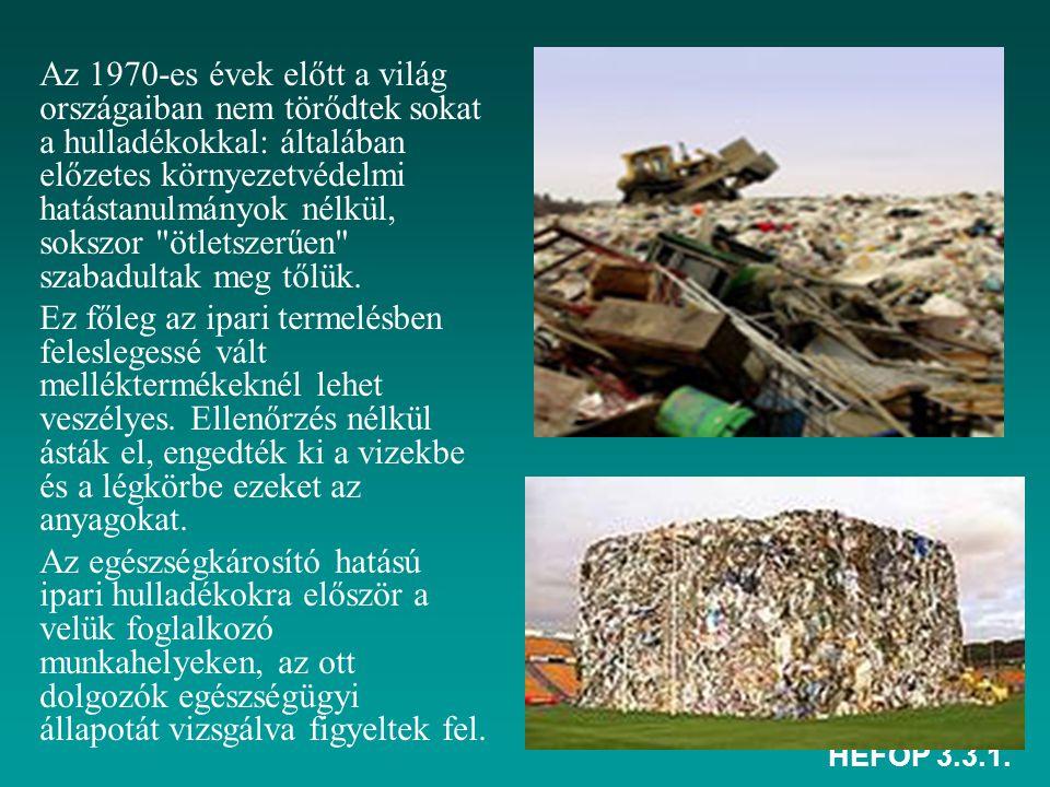 Az 1970-es évek előtt a világ országaiban nem törődtek sokat a hulladékokkal: általában előzetes környezetvédelmi hatástanulmányok nélkül, sokszor ötletszerűen szabadultak meg tőlük.