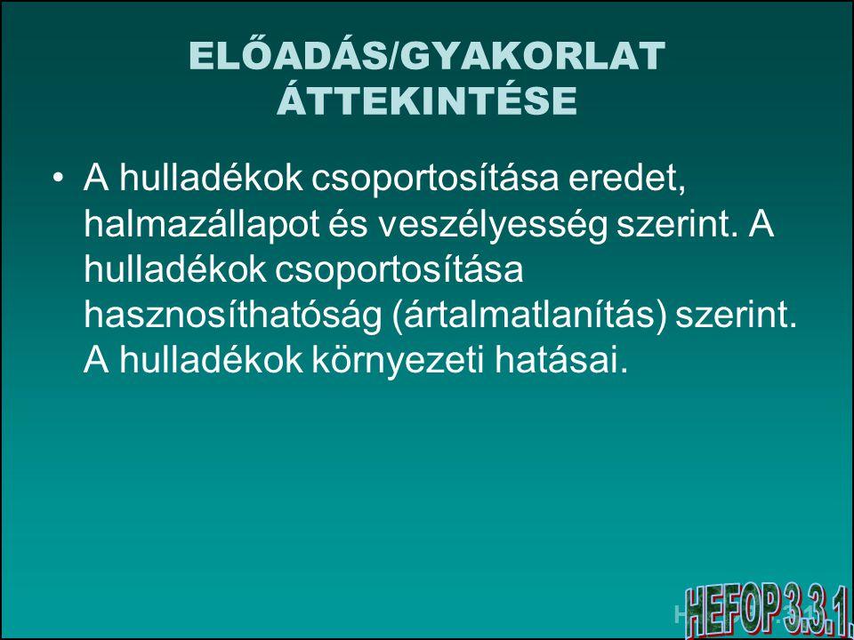 ELŐADÁS/GYAKORLAT ÁTTEKINTÉSE