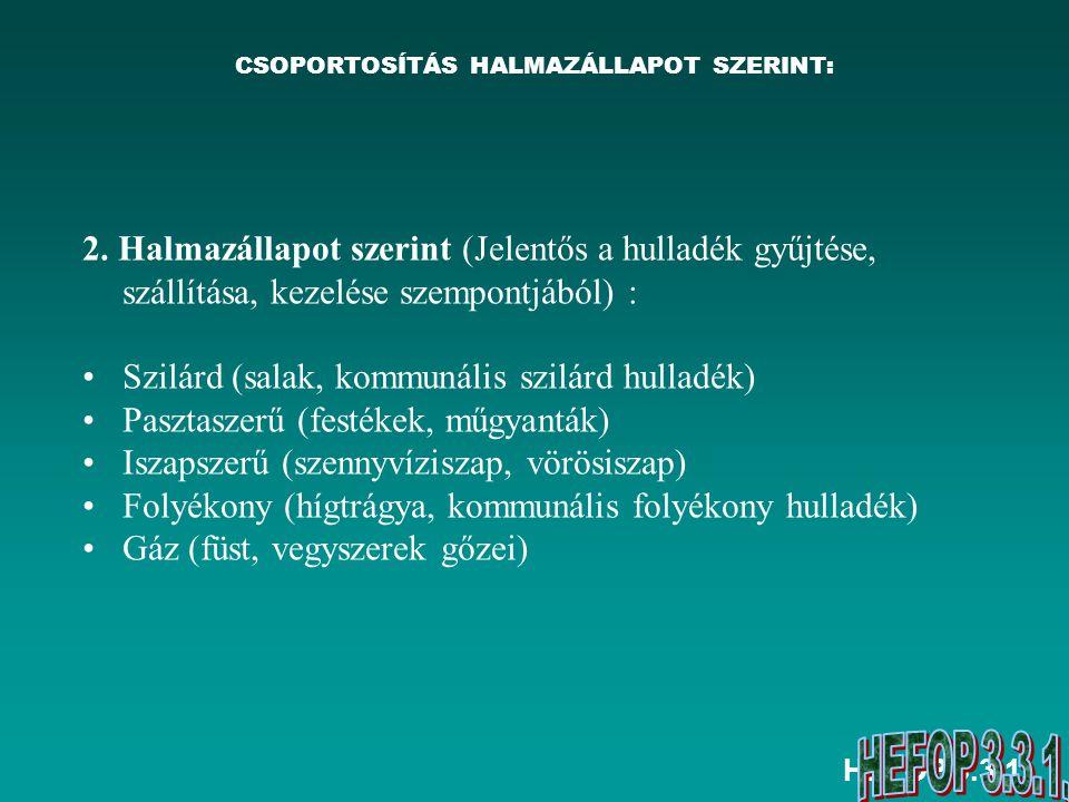 CSOPORTOSÍTÁS HALMAZÁLLAPOT SZERINT: