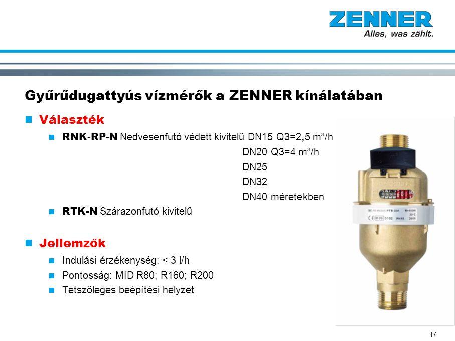 Gyűrűdugattyús vízmérők a ZENNER kínálatában