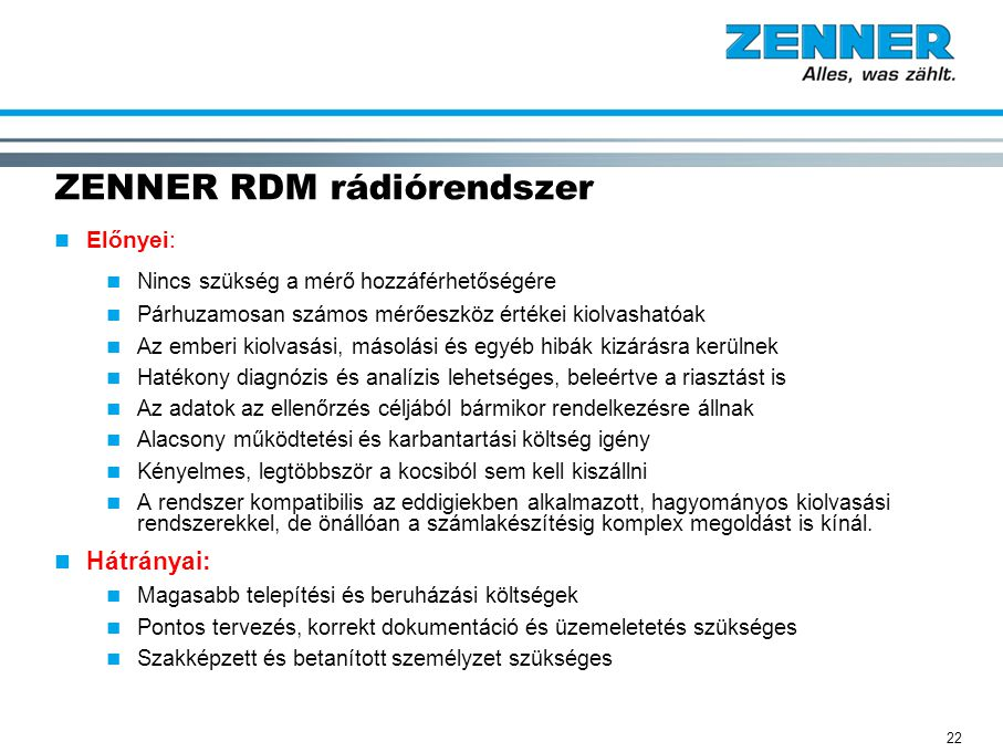 ZENNER RDM rádiórendszer