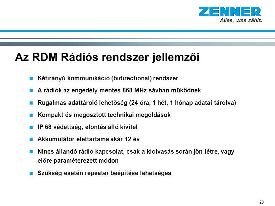 Az RDM Rádiós rendszer jellemzői