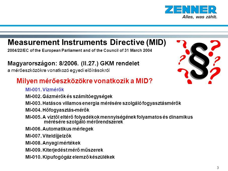 Measurement Instruments Directive (MID) 2004/22/EC of the European Parliament and of the Council of 31 March 2004 Magyarországon: 8/2006. (II.27.) GKM rendelet a mérőeszközökre vonatkozó egyedi előírásokról