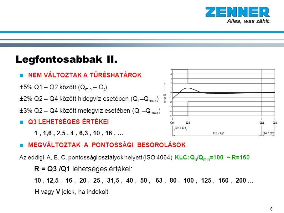 Legfontosabbak II. ±5% Q1 – Q2 között (Qmin – Qt)