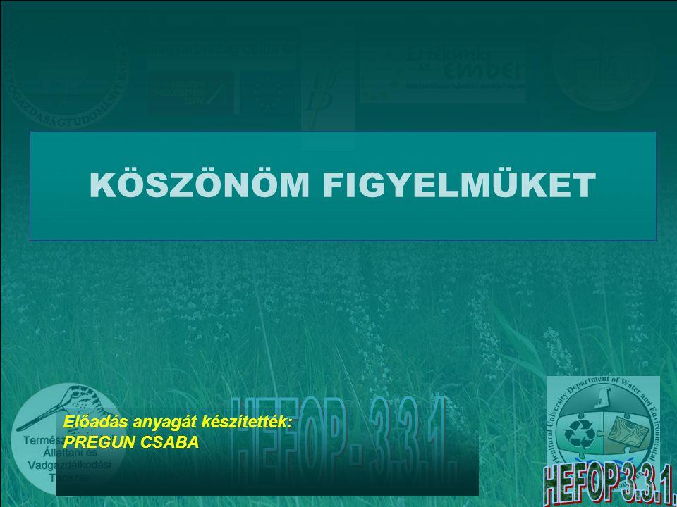 KÖSZÖNÖM FIGYELMÜKET Előadás anyagát készítették: PREGUN CSABA