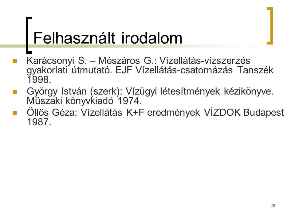 Felhasznált irodalom Karácsonyi S. – Mészáros G.: Vízellátás-vízszerzés gyakorlati útmutató. EJF Vízellátás-csatornázás Tanszék 1998.