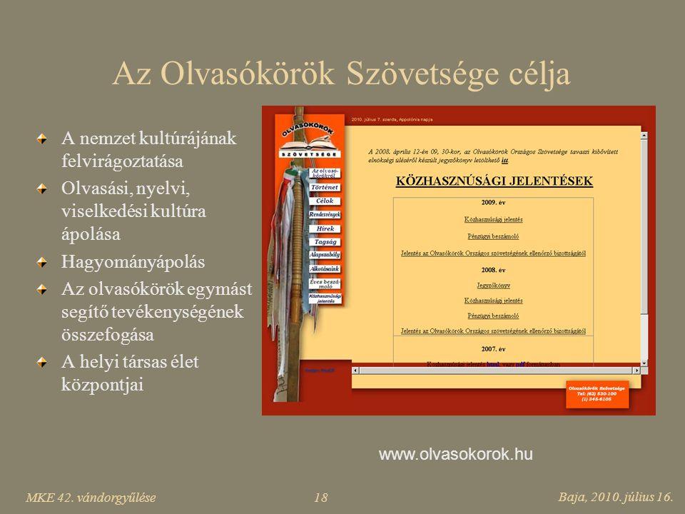 Az Olvasókörök Szövetsége célja