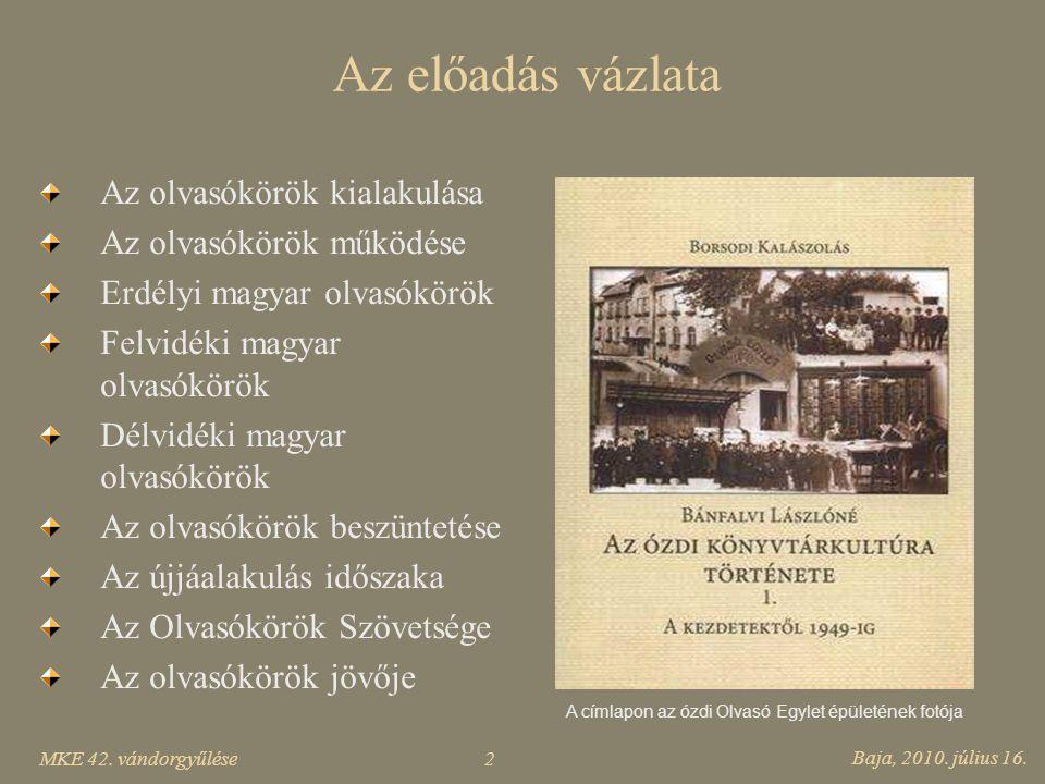 A címlapon az ózdi Olvasó Egylet épületének fotója