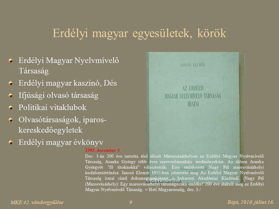 Erdélyi magyar egyesületek, körök