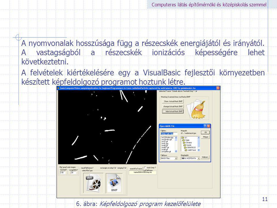 6. ábra: Képfeldolgozó program kezelőfelülete