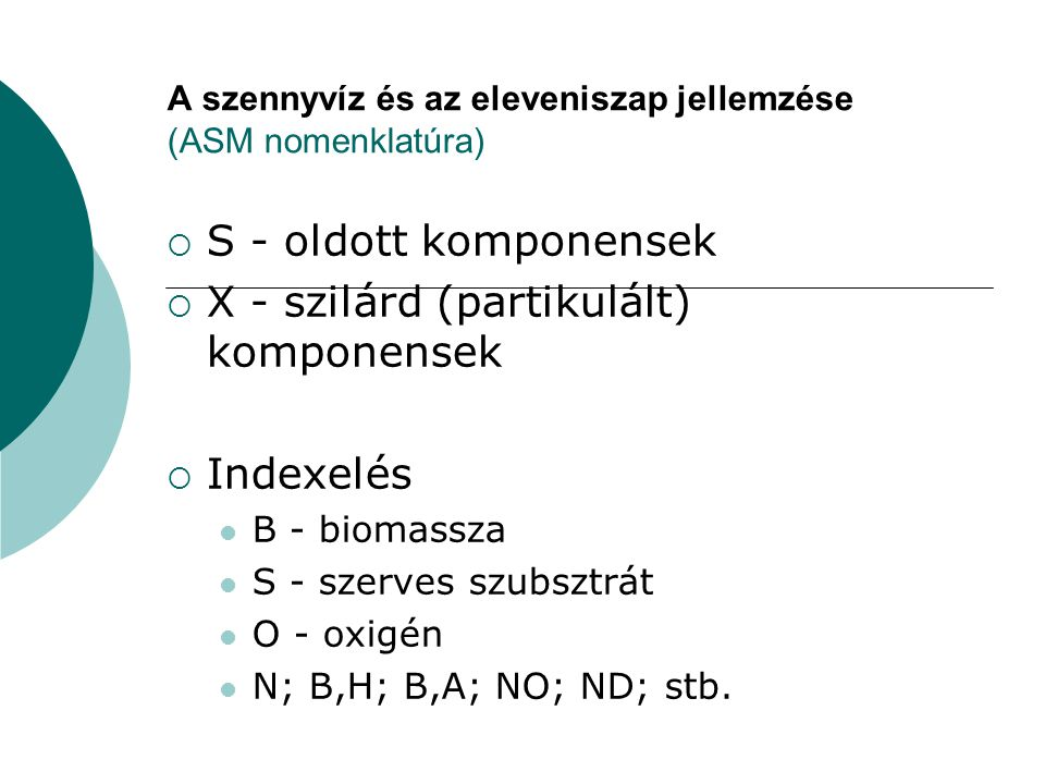 A szennyvíz és az eleveniszap jellemzése (ASM nomenklatúra)