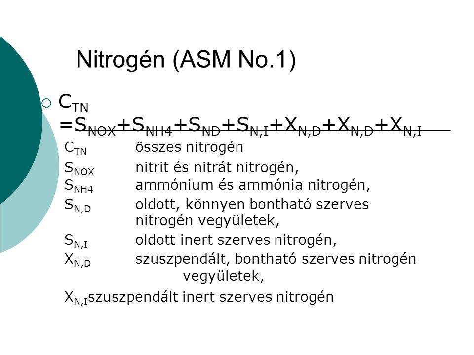 Nitrogén (ASM No.1) CTN =SNOX+SNH4+SND+SN,I+XN,D+XN,D+XN,I