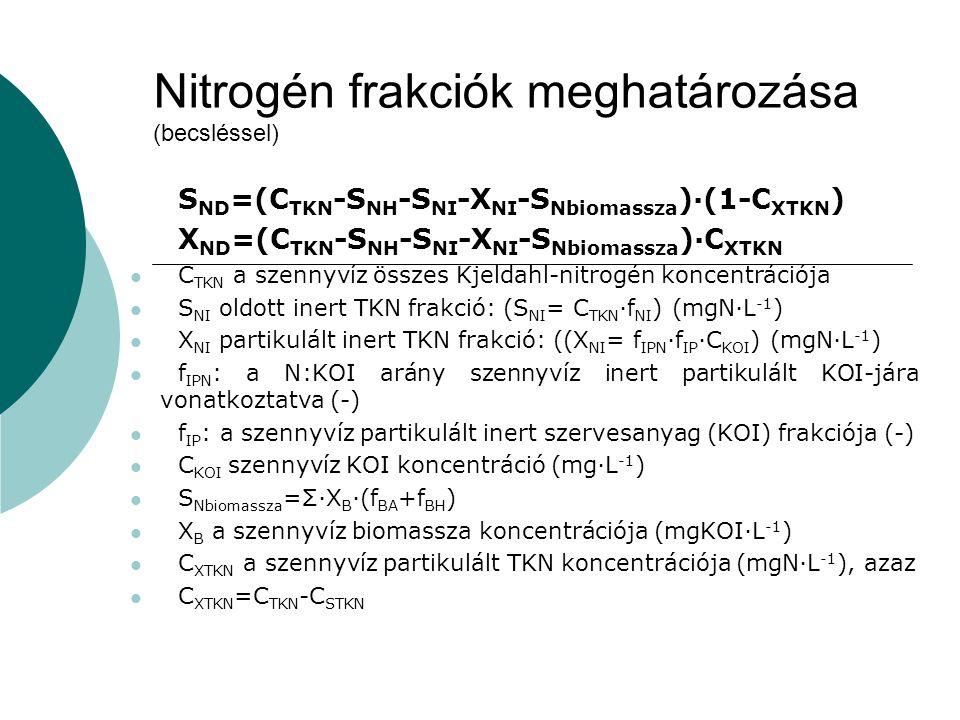 Nitrogén frakciók meghatározása (becsléssel)