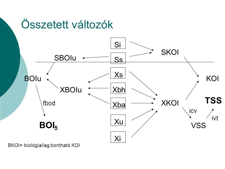 Összetett változók TSS BOI5 SKOI Si Ss Xs Xbh Xba Xu Xi SBOIu XBOIu