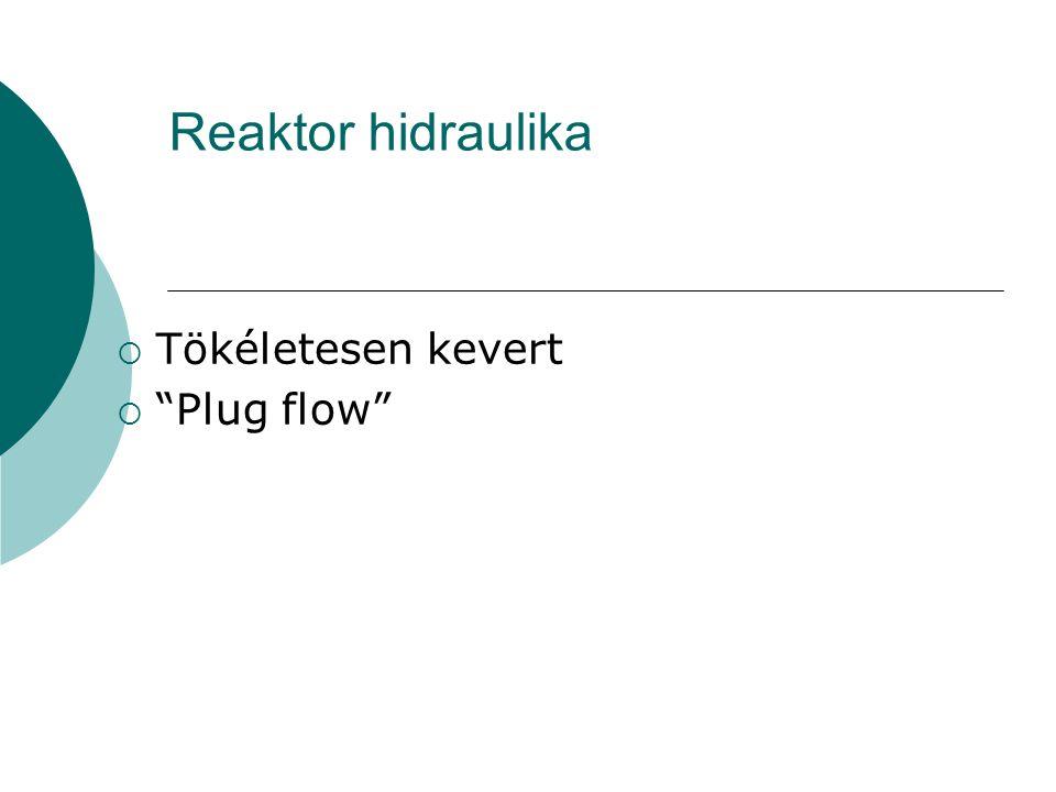 Reaktor hidraulika Tökéletesen kevert Plug flow