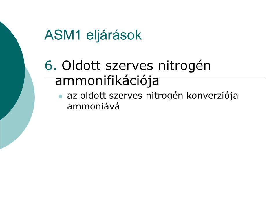 ASM1 eljárások 6. Oldott szerves nitrogén ammonifikációja
