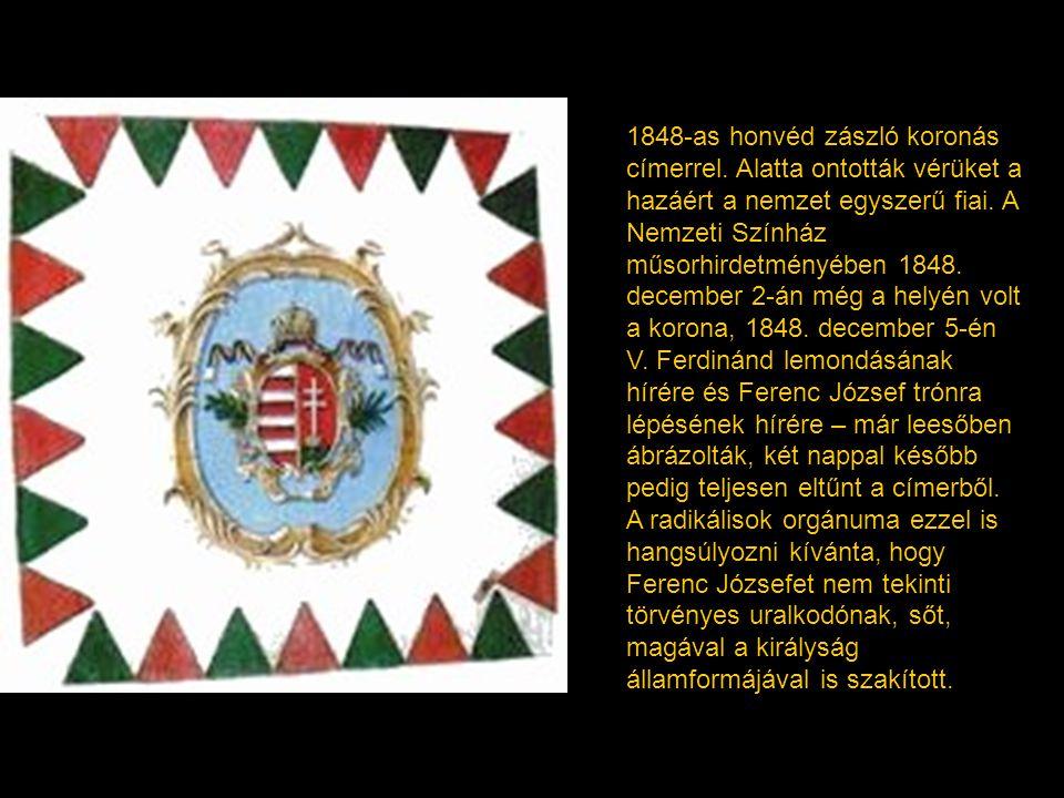 1848-as honvéd zászló koronás címerrel