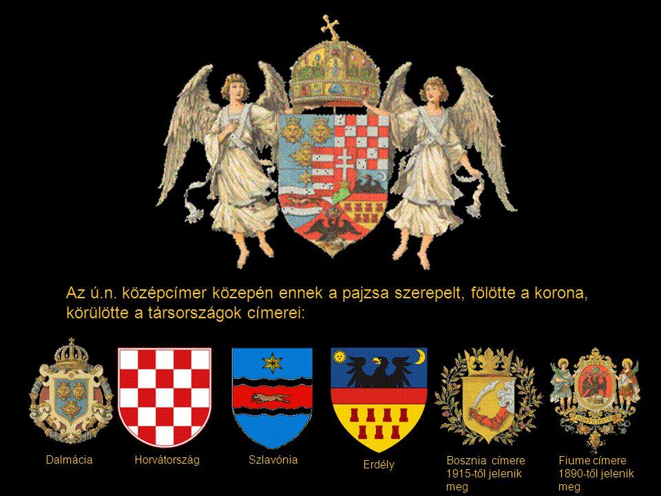 Az ú.n. középcímer közepén ennek a pajzsa szerepelt, fölötte a korona, körülötte a társországok címerei: