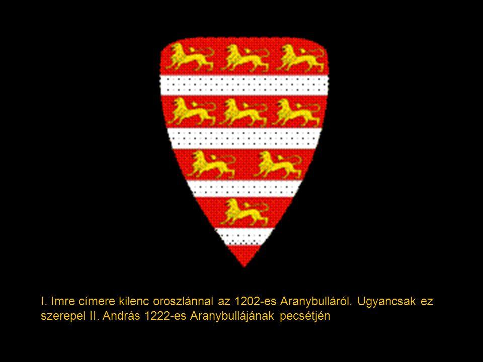 I. Imre címere kilenc oroszlánnal az 1202-es Aranybulláról