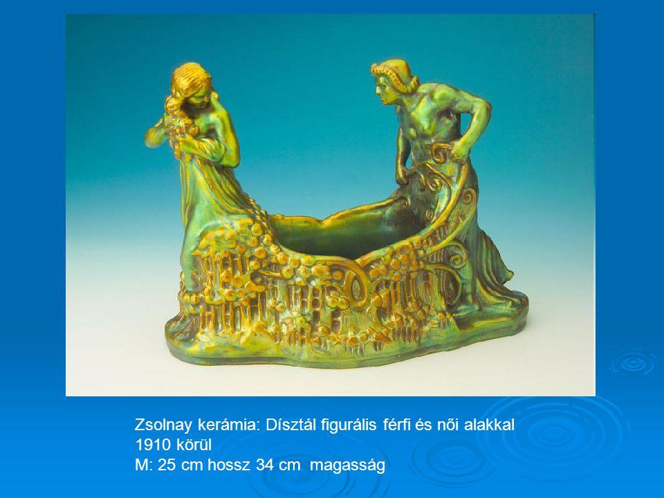 Zsolnay kerámia: Dísztál figurális férfi és női alakkal