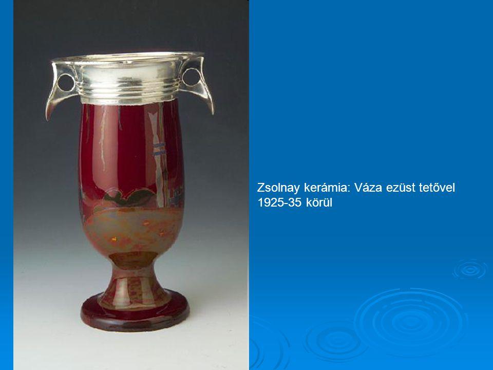 Zsolnay kerámia: Váza ezüst tetővel