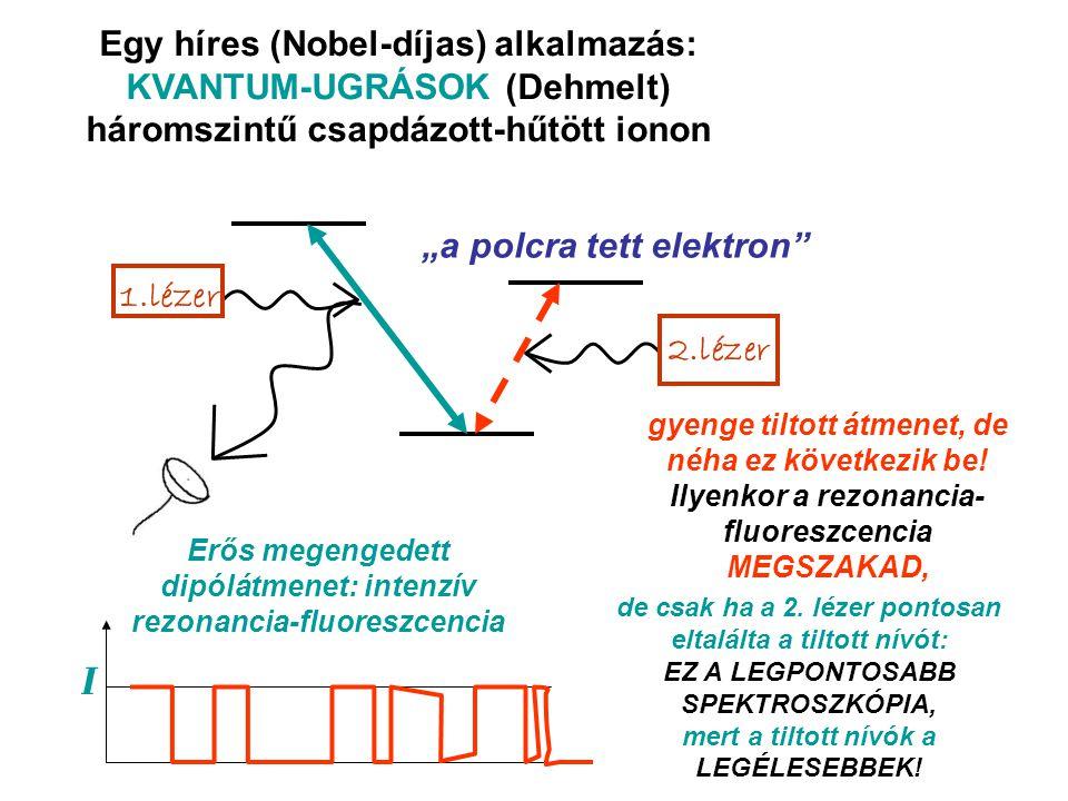 Egy híres (Nobel-díjas) alkalmazás: KVANTUM-UGRÁSOK (Dehmelt) háromszintű csapdázott-hűtött ionon