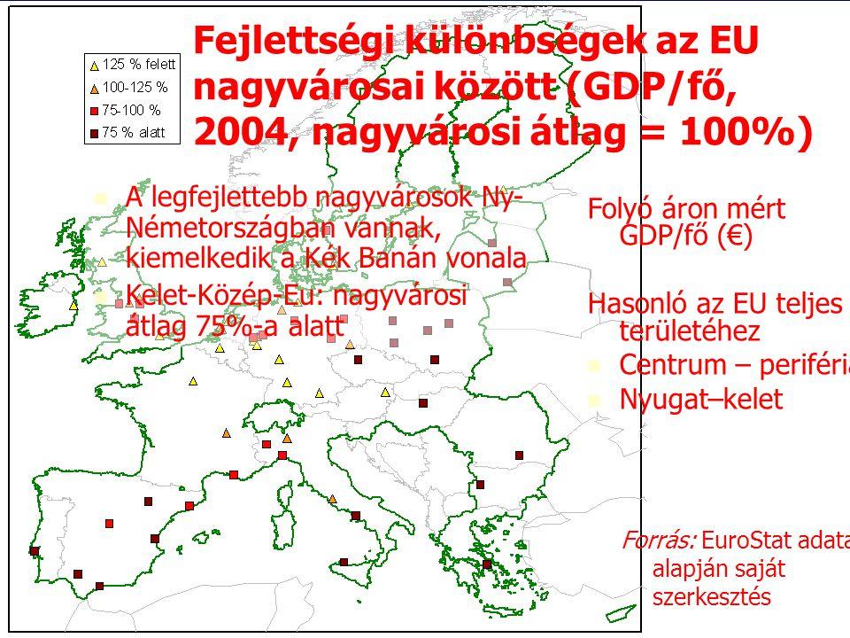 Fejlettségi különbségek az EU nagyvárosai között (GDP/fő, 2004, nagyvárosi átlag = 100%)