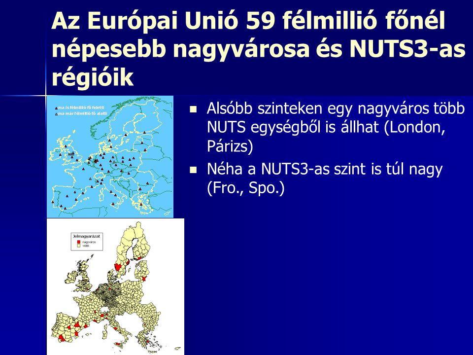 Az Európai Unió 59 félmillió főnél népesebb nagyvárosa és NUTS3-as régióik