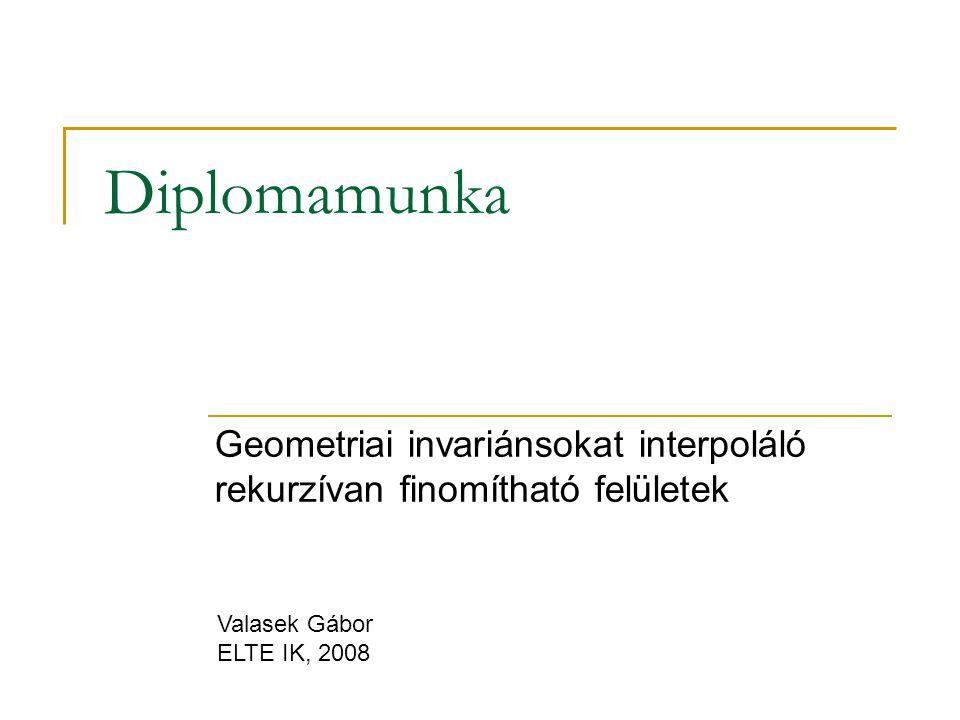 Geometriai invariánsokat interpoláló rekurzívan finomítható felületek