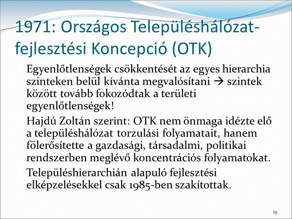 1971: Országos Településhálózat-fejlesztési Koncepció (OTK)