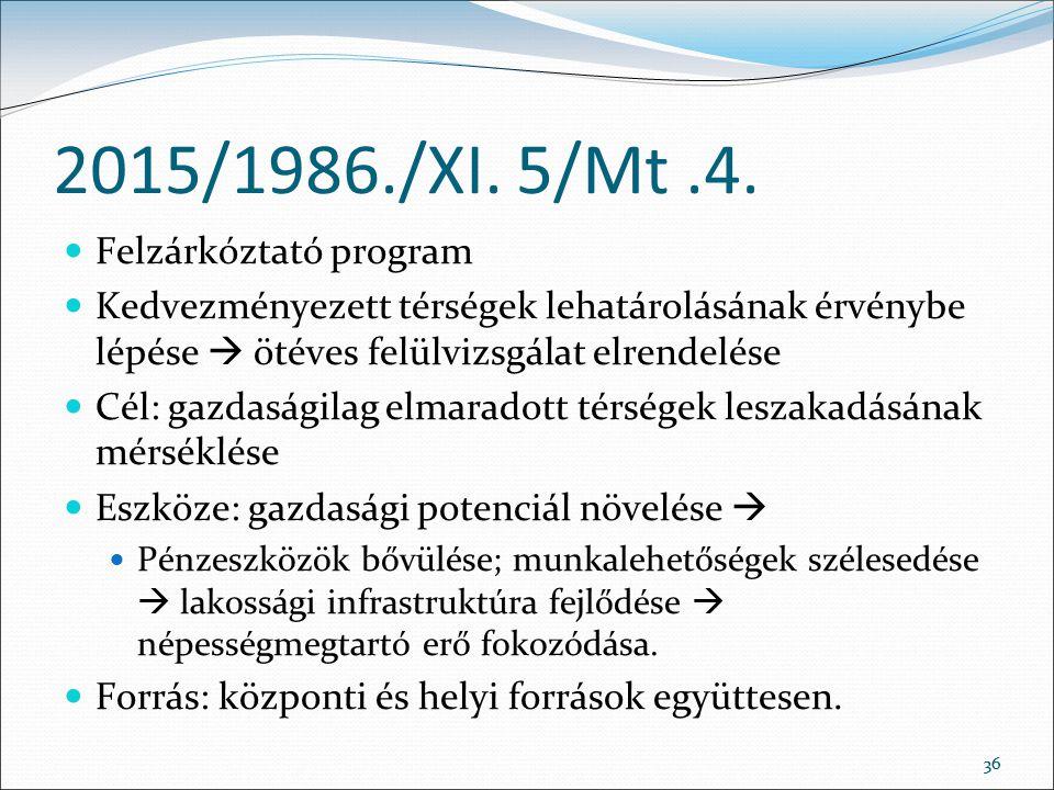 2015/1986./XI. 5/Mt .4. Felzárkóztató program