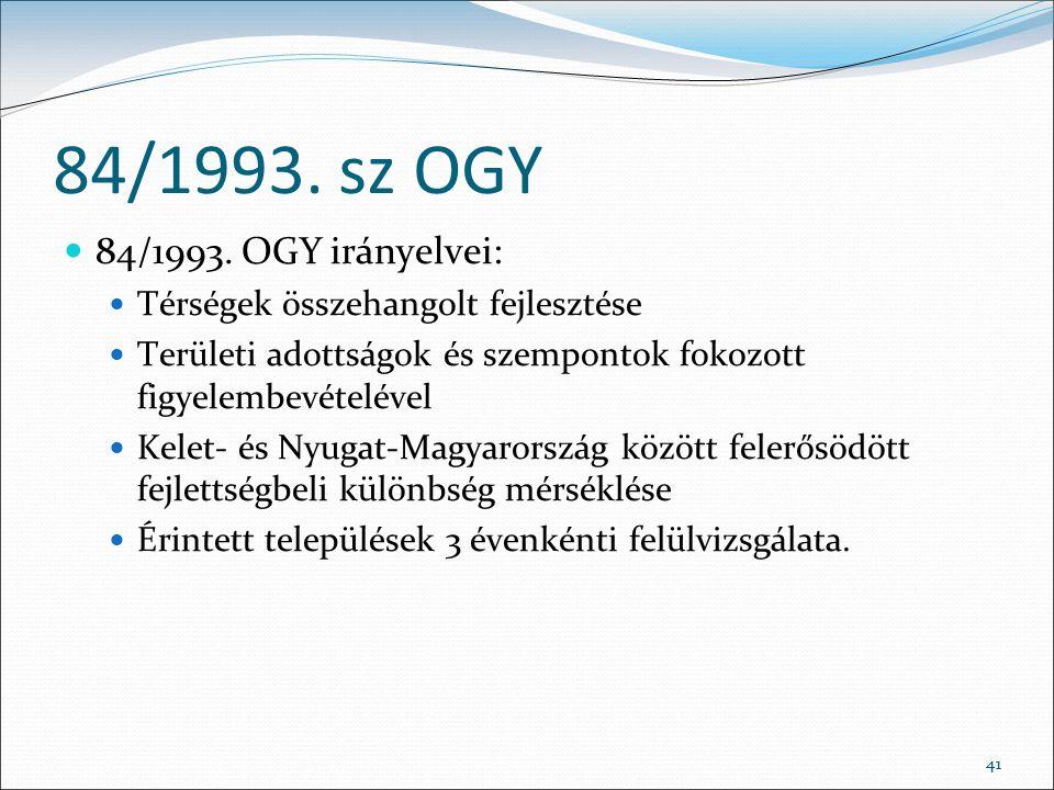 84/1993. sz OGY 84/1993. OGY irányelvei: