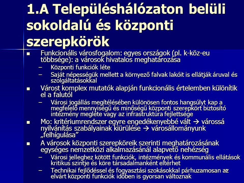 1.A Településhálózaton belüli sokoldalú és központi szerepkörök