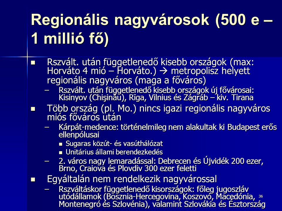Regionális nagyvárosok (500 e – 1 millió fő)