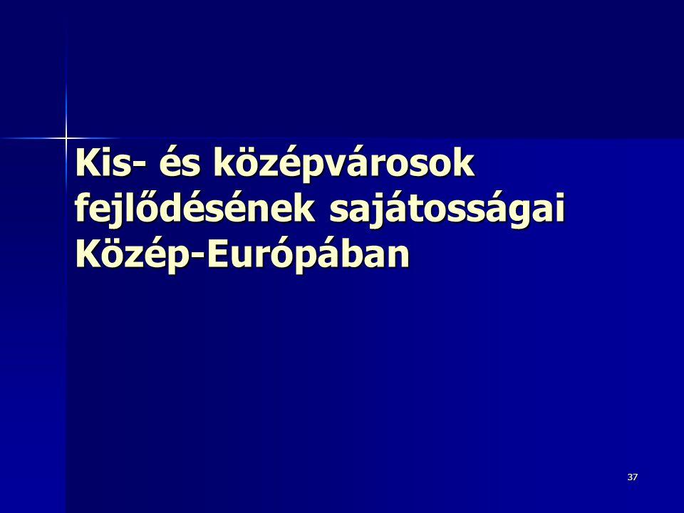 Kis- és középvárosok fejlődésének sajátosságai Közép-Európában