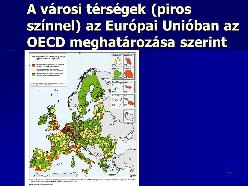 A városi térségek (piros színnel) az Európai Unióban az OECD meghatározása szerint