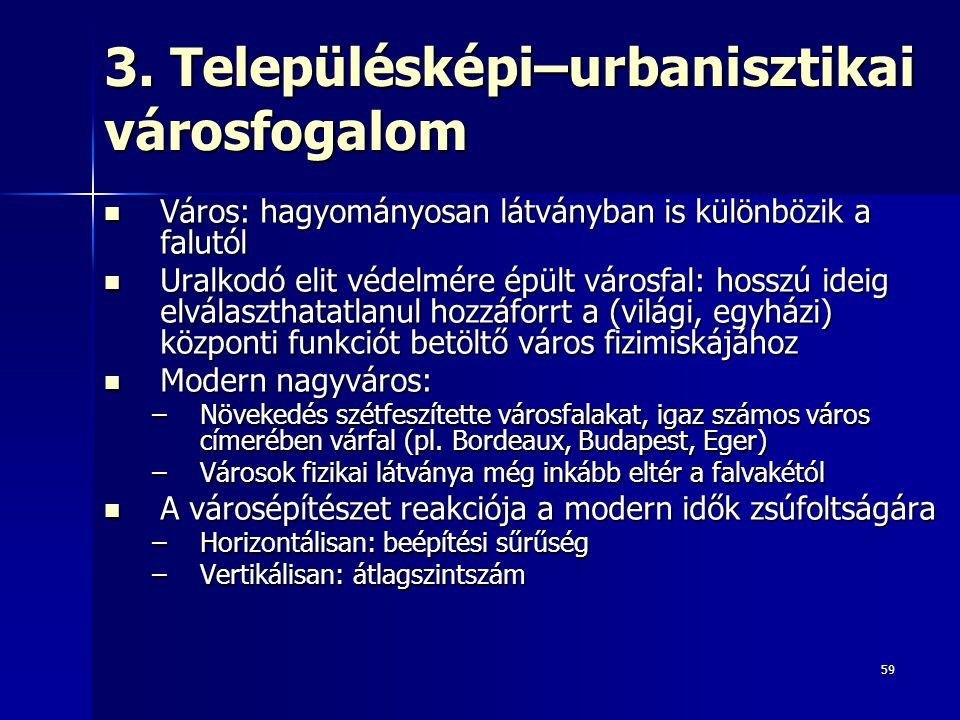 3. Településképi–urbanisztikai városfogalom