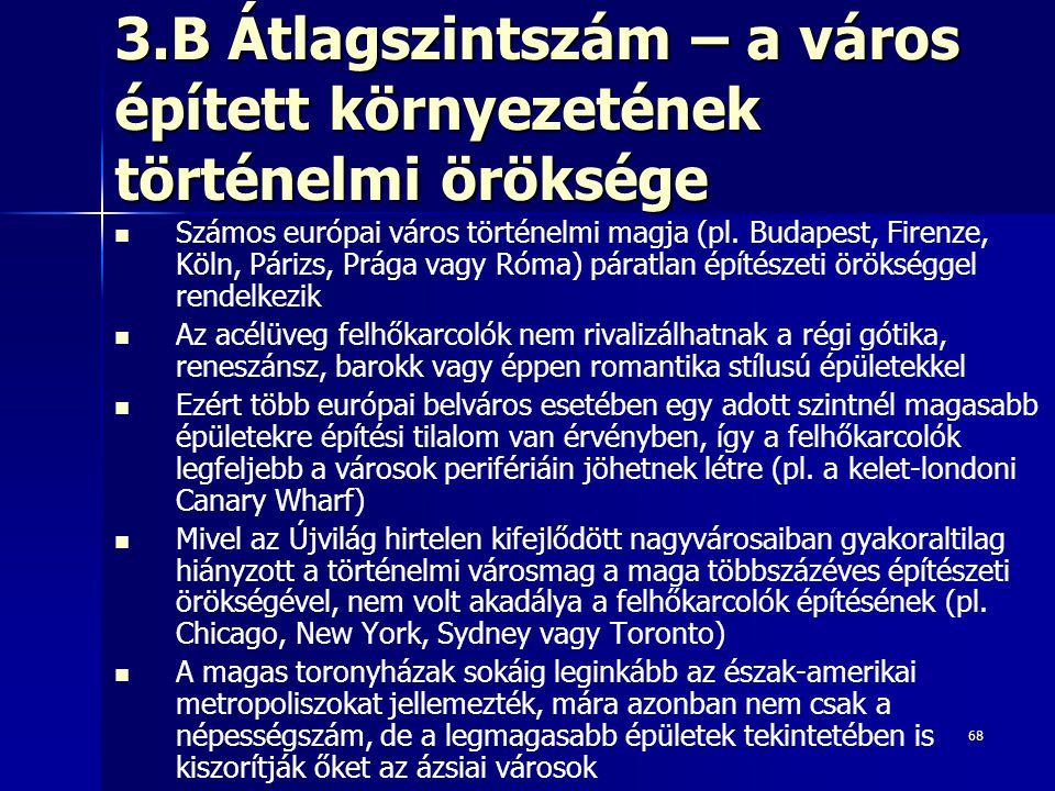 3.B Átlagszintszám – a város épített környezetének történelmi öröksége