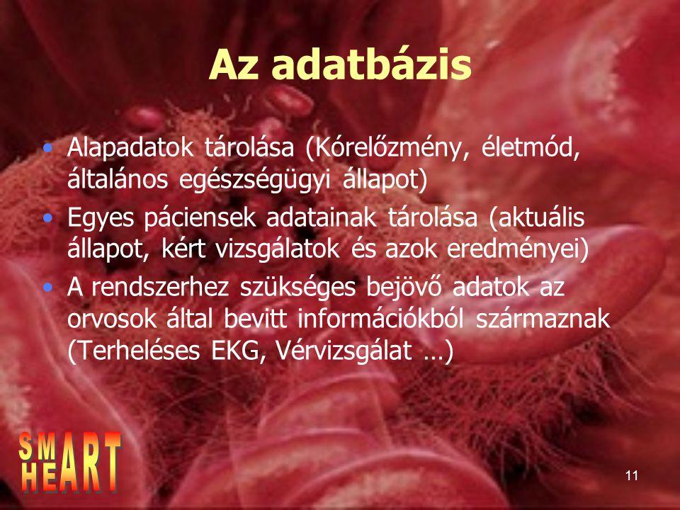 Az adatbázis Alapadatok tárolása (Kórelőzmény, életmód, általános egészségügyi állapot)