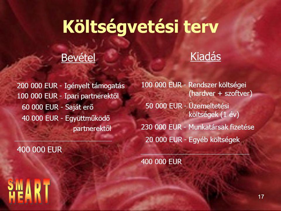 Költségvetési terv ART SM HE Kiadás Bevétel 60 000 EUR - Saját erő