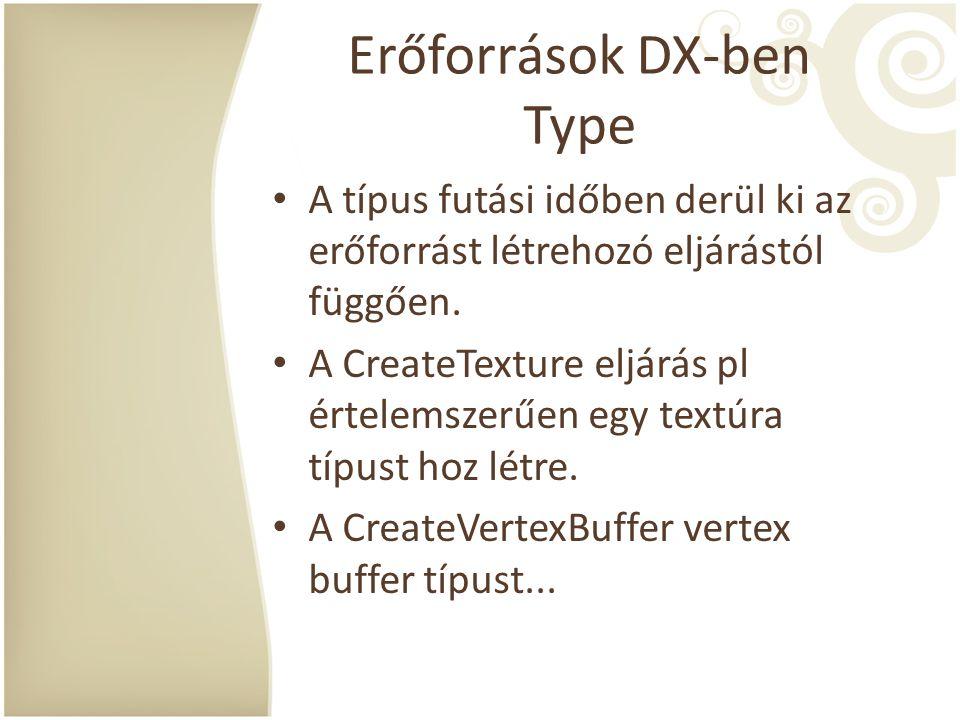 Erőforrások DX-ben Type