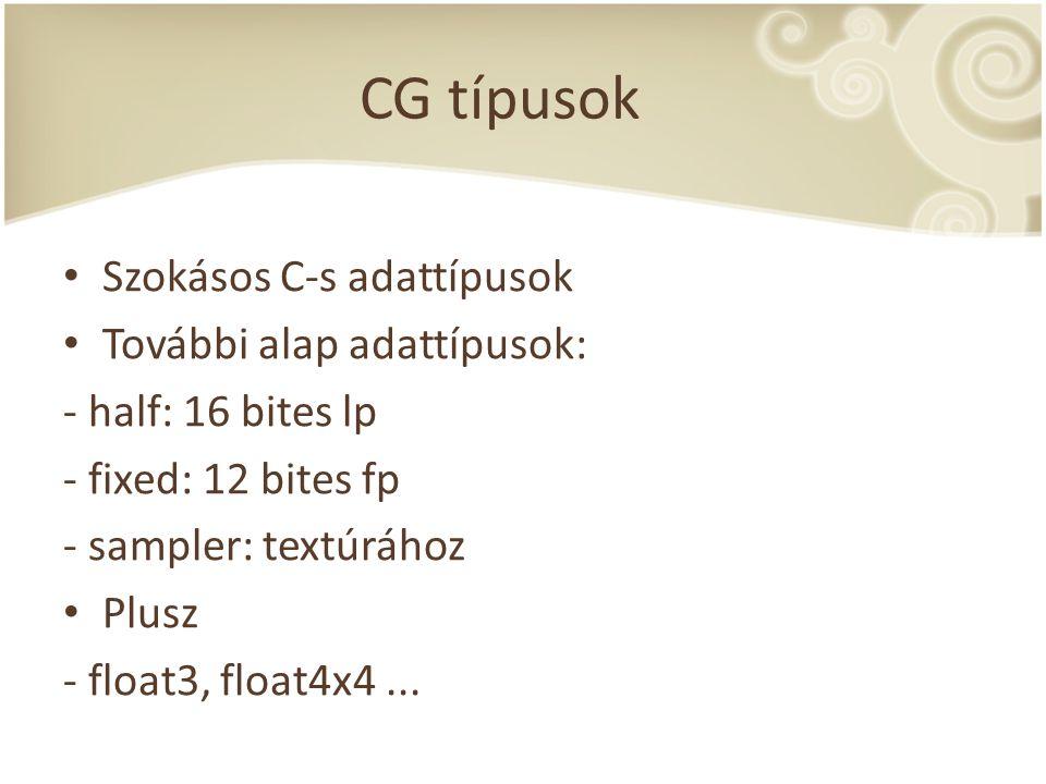 CG típusok Szokásos C-s adattípusok További alap adattípusok: