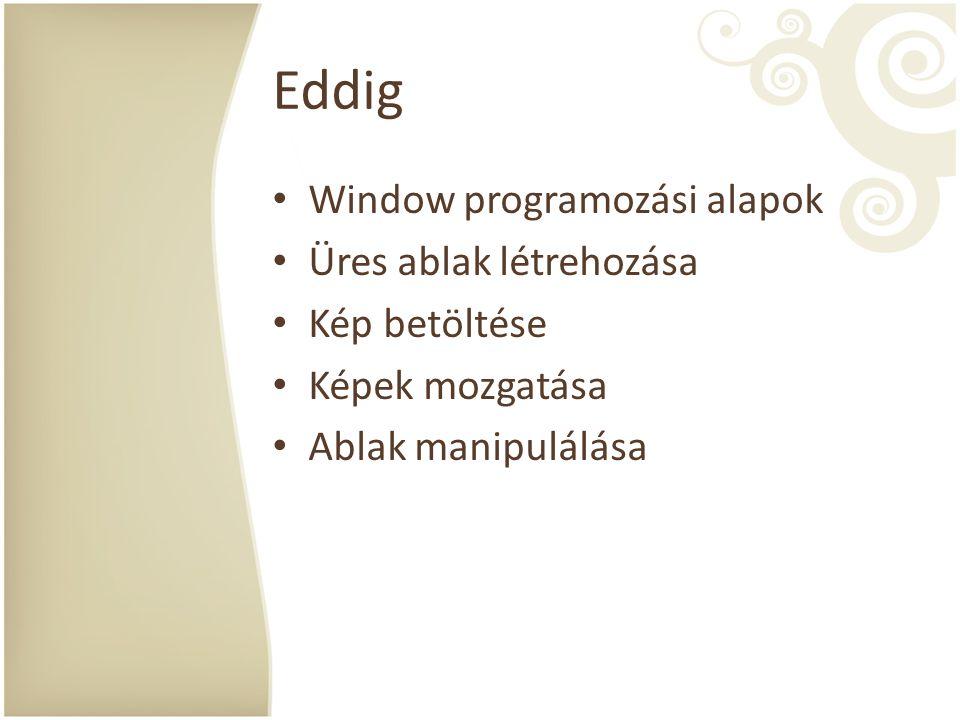 Eddig Window programozási alapok Üres ablak létrehozása Kép betöltése