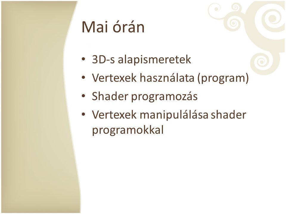 Mai órán 3D-s alapismeretek Vertexek használata (program)