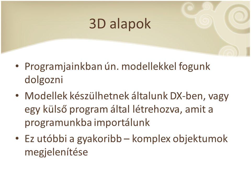 3D alapok Programjainkban ún. modellekkel fogunk dolgozni